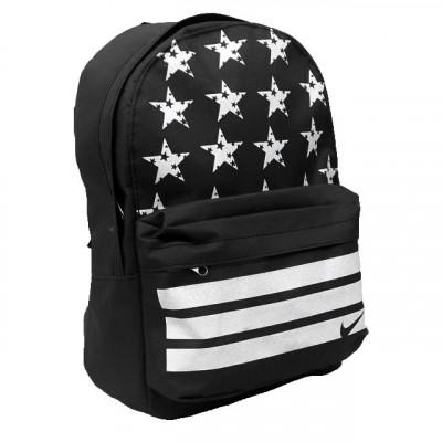 Рюкзак спортивный Nike (Найк) черный со звездами 40х30 см.