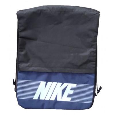 Рюкзак-мешок с карманом Nike на затяжках черно-синий надпись
