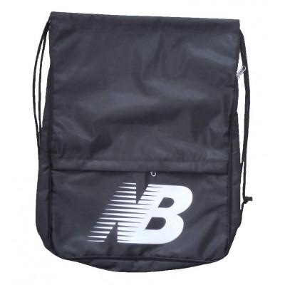 Рюкзак-мешок с карманом New balance на затяжках черный надпись