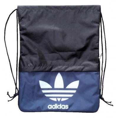 Рюкзак-мешок с карманом Adidas на затяжках черно-синий знак