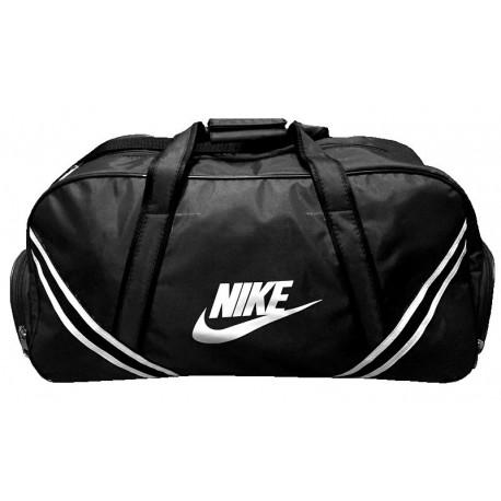 Сумка спортивная Nike с полосками средняя черная 56 см