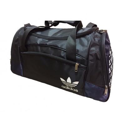 Сумка спортивная Adidas со скошенными карманами большая черно-темно-синяя 63 см