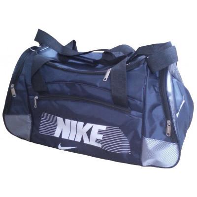 Сумка спортивная Nike со скошенными карманами средняя темно-сине-серая 56 см