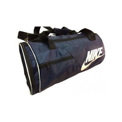 Сумка спортивная Nike круглая малая темно-синяя 45 см с карманом