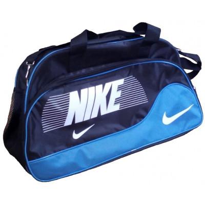 Сумка спортивная Nike овальная средняя черно-голубая 52 см