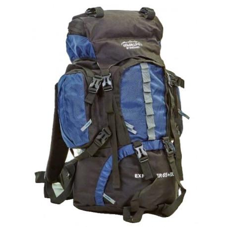 Рюкзак туристический каркасный COLOR LIFE 75 (65+10) литров нижний вход темно-синий