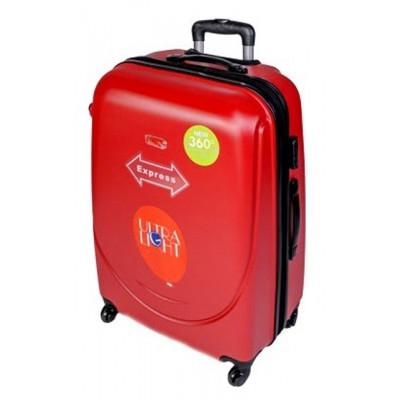 Чемодан Gravitt большой красный пластиковый 70 см с расширением
