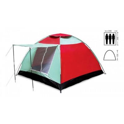 Палатка трехместная 2.00 х 2,00 м сине-красная с тамбуром T1SY019