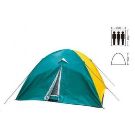 Палатка трехместная 2.00 х 2,00 м зеленая с тентом T1SY019