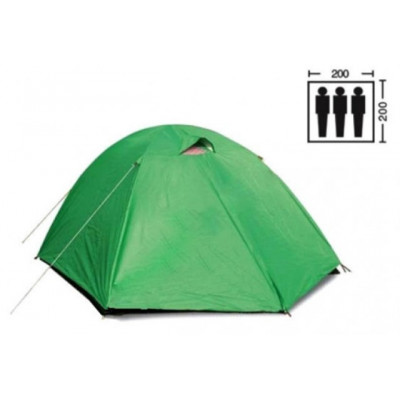 Палатка трехместная 2.00 х 2,00 м зеленая с тентом T2SY007