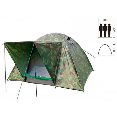 Палатка трехместная 2.00 х 2,00 м камуфляж с тентом и тамбуром T2SY034