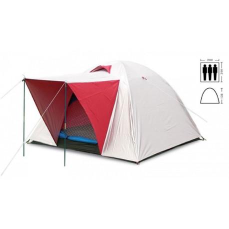 Палатка трехместная 2.00 х 2,00 м красная с тентом и тамбуром T2SY014