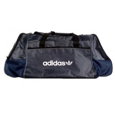Сумка спортивная Adidas со скошенными карманами большая серо-синяя 63 см