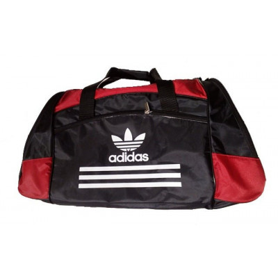 Сумка спортивная Adidas со скошенными карманами средняя черно-красная 56 см