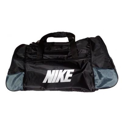 Сумка спортивная Nike со скошенными карманами большая черно-серая 63 см