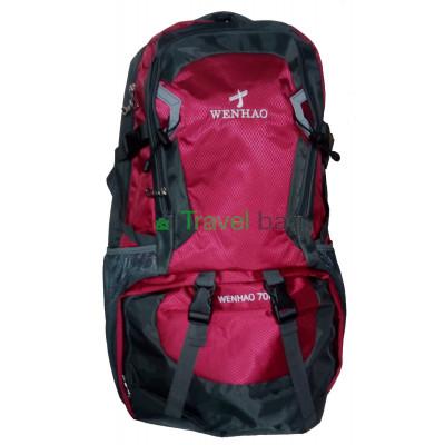Рюкзак туристический Wenhao 70 л серо-бордовый