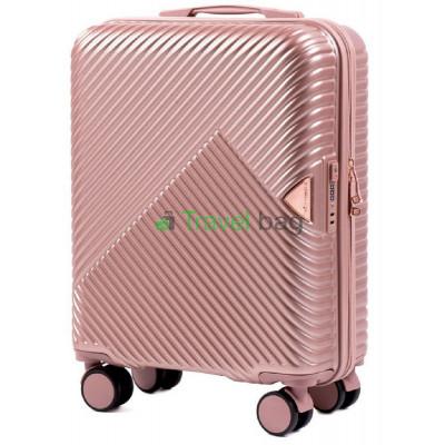 Чемодан пластиковый Wings WN01 маленький золотисто-розовый 55 см