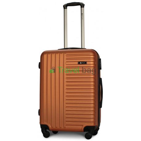 Чемодан пластиковый FLY 1096 средний оранжевый 65 см