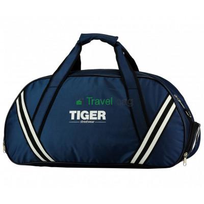 Сумка дорожная спортивная Tiger с полосками ср 56*23*29 темно-синяя S241201