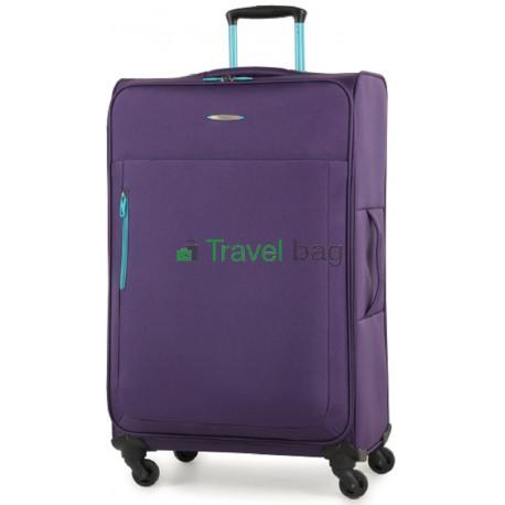 Чемодан тканевый MEMBERS Hi-Lite большой фиолетовый 4 колеса