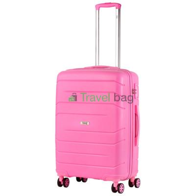 Чемодан пластиковый TRAVELZ Big Bars средний розовый