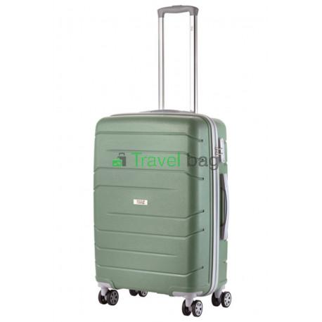 Чемодан пластиковый TRAVELZ Big Bars средний серо-зеленый