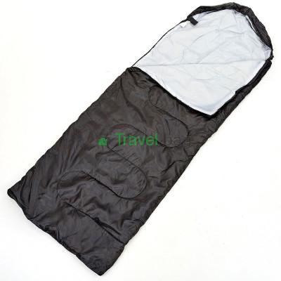 Спальный мешок одеяло с капюшоном черный 1000г/м2, 210х70см, t от -10 до +10