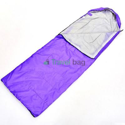Спальный мешок одеяло с капюшоном сиреневый 1000г/м2, 210х70см, t от -10 до +10