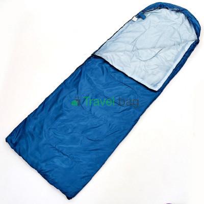 Спальный мешок одеяло с капюшоном синий 1000г/м2, 210х70см, t от -10 до +10