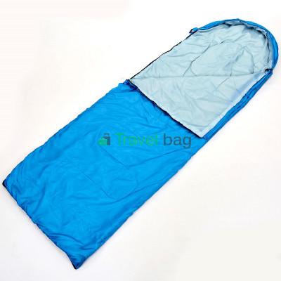 Спальный мешок одеяло с капюшоном голубой 1000г/м2, 210х70см, t от -10 до +10