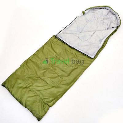 Спальный мешок одеяло с капюшоном оливковый 1000г/м2, 210х70см, t от -10 до +10