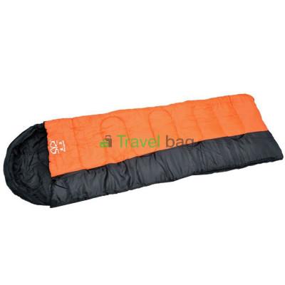 Спальный мешок одеяло с капюшоном черно-оранжевый 1350г/м2, 190+30х75см, t от -10 до +10