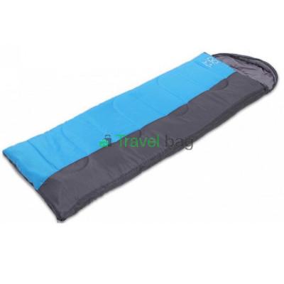 Спальный мешок одеяло с капюшоном серо-голубой 1350г/м2, 190+30х75см, t от -10 до +10