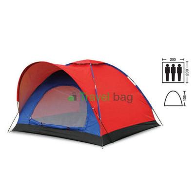 Палатка трехместная 2.00 х 2,00 м сине-красная T1SY010
