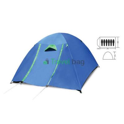 Палатка шестиместная 2.20 х 2,50 м синяя с тентом и коридором T2SY017