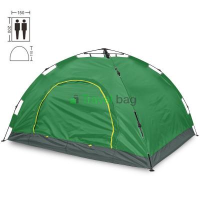 Палатка двухместная 2.00 х 1,50 м зеленая самораскладывающаяся TSYA021