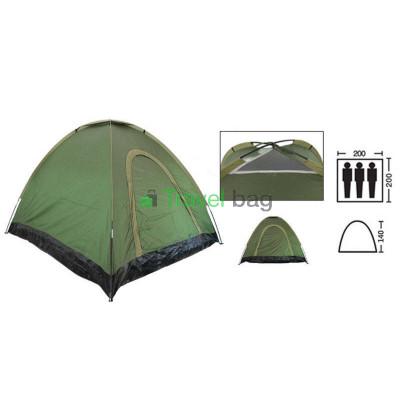 Палатка трехместная 2.00 х 2,00 м зеленая самораскладывающаяся T1SY036