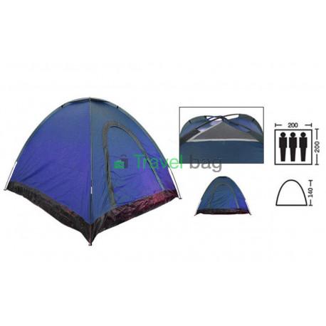 Палатка трехместная 2.00 х 2,00 м синяя самораскладывающаяся T1SY035