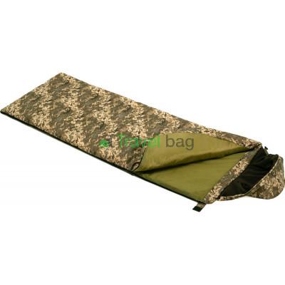 Спальный мешок одеяло с капюшоном Average камуфляж 220г/м2, 195х75см, t от -1 до +22