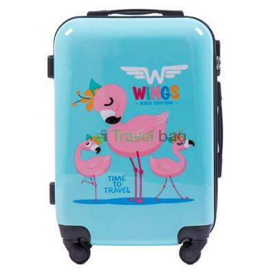 Чемодан детский пластиковый WINGS малый Фламинго 4 колеса