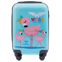 Чемодан детский пластиковый WINGS микро Фламинго 4 колеса
