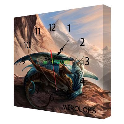 Настенные часы MIROLOKS Драконы на холсте 35х35 см M00002