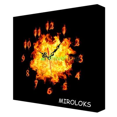 Настенные часы MIROLOKS Огонь на холсте 35х35 см M00002