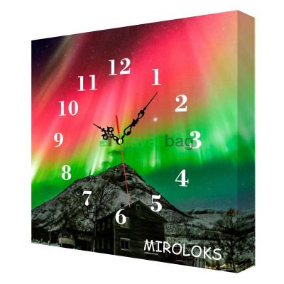 Настенные часы MIROLOKS Северное сияние на холсте 35х35 см M00002