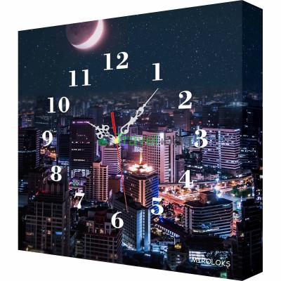 Настенные часы MIROLOKS Ночной город 35х35 см M00017