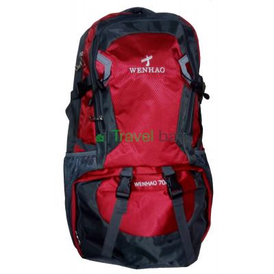 Рюкзак туристический Wenhao 70 л серо-красный