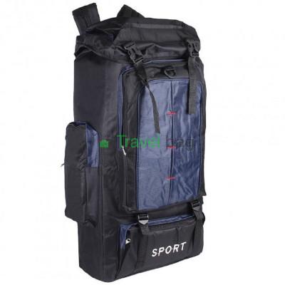 Рюкзак походный Sports fashion 60х38х20 черно-темно-синий (красные нити)