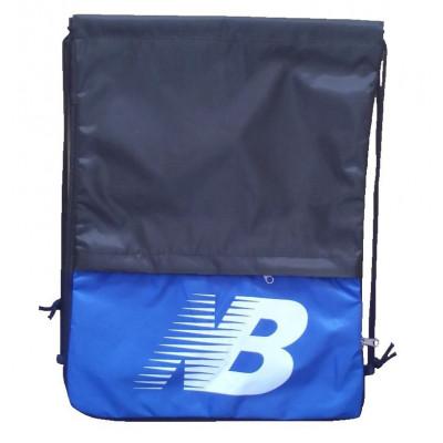 Рюкзак-мешок с карманом New balance на затяжках черно-ярко-синий надпись