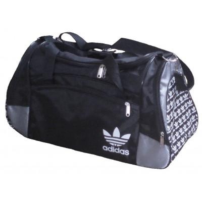Сумка спортивная Adidas со скошенными карманами средняя черно-серая 56 см