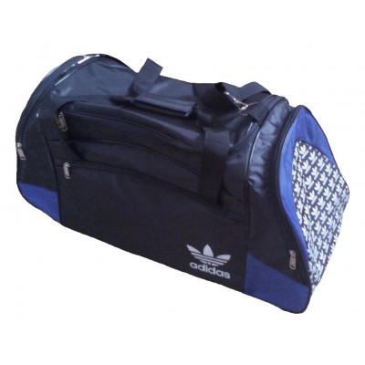 Сумка спортивная Adidas со скошенными карманами большая черно-синяя 63 см